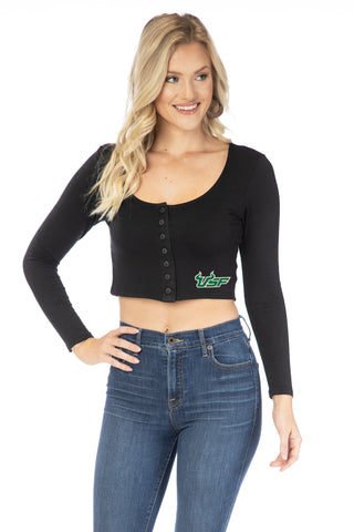 USF Bulls Long Sleeve Button Crop
