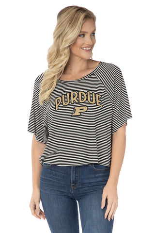 Purdue Boilermakers Emily Striped Tee
