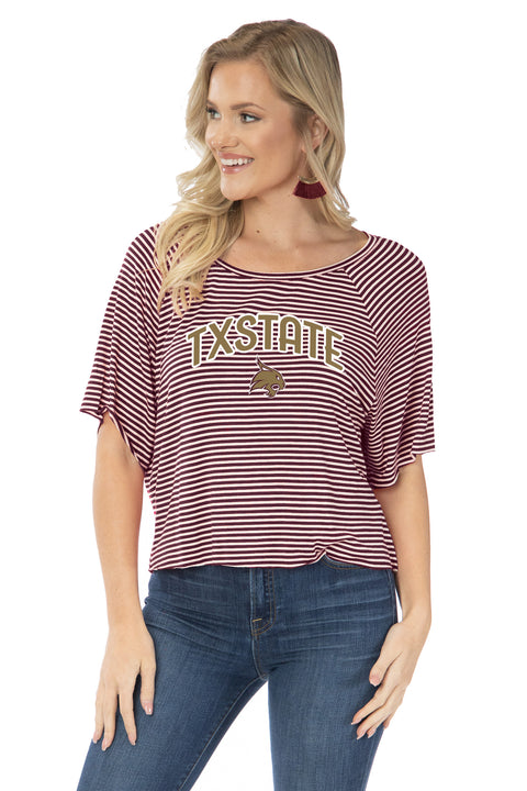 Texas State Bobcats Emily Striped Tee