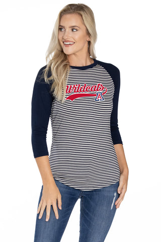 Arizona Wildcats Leah Striped Baseball Tee