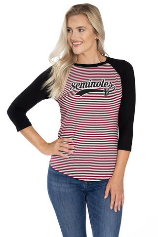 Florida State Seminoles Leah Striped Baseball Tee