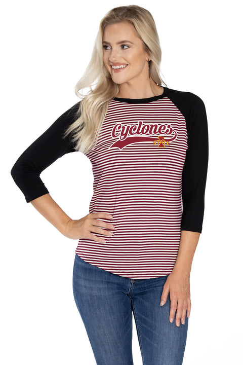 Iowa State Cyclones Leah Striped Baseball Tee