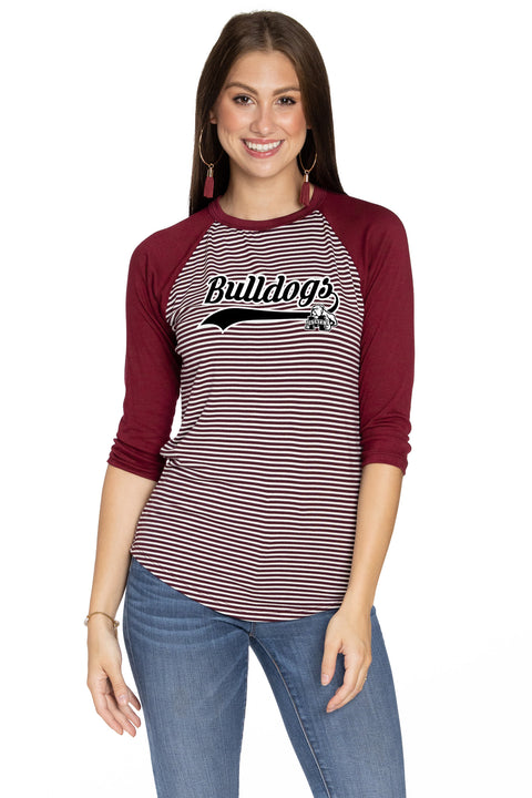 Mississippi State Bulldogs Leah Striped Baseball Tee