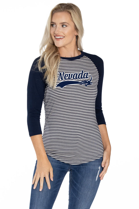 Nevada Wolf Pack Leah Striped Baseball Tee
