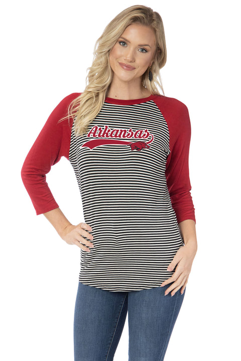 Arkansas Razorbacks Leah Striped Baseball Tee