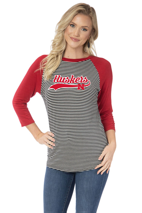 Nebraska Huskers Leah Striped Baseball Tee