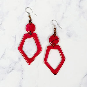 Hollow Diamond Tagua Earrings - Red