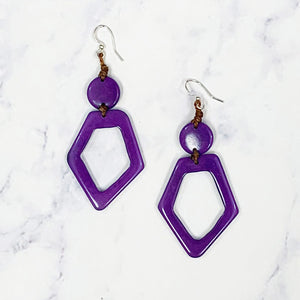 Hollow Diamond Tagua Earrings - Purple