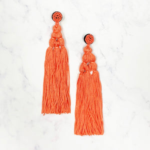 Chinese Knot Tassel Earrings - Coral
