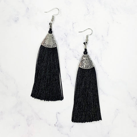Bohemian Tassel Earrings - Black