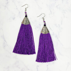 Bohemian Tassel Earrings - Purple