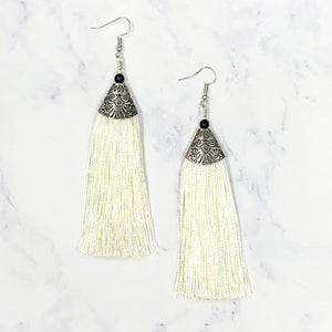 Bohemian Tassel Earrings - Ivory