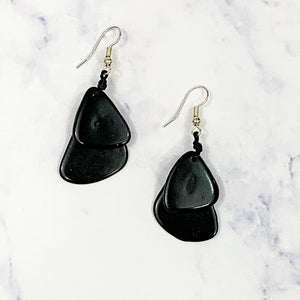 Guitar Pic Tagua Earrings - Black