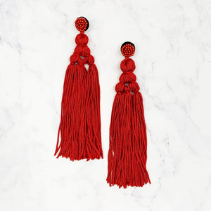 Chinese Knot Tassel Earrings - Red