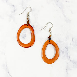 Pear Tagua Earrings - Orange