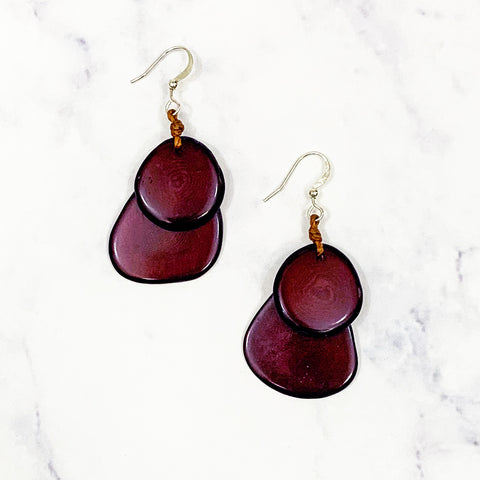 Guitar Pic Tagua Earrings - Maroon