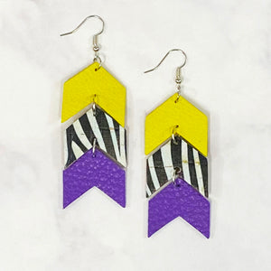Triple Tier Faux Leather Chevron Earrings - Purple/Yellow/Black/White