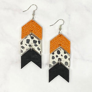 Triple Tier Leather Chevron Earrings - Orange/Black/White
