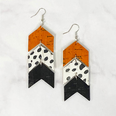 Triple Tier Faux Leather Chevron Earrings - Orange/Black/White