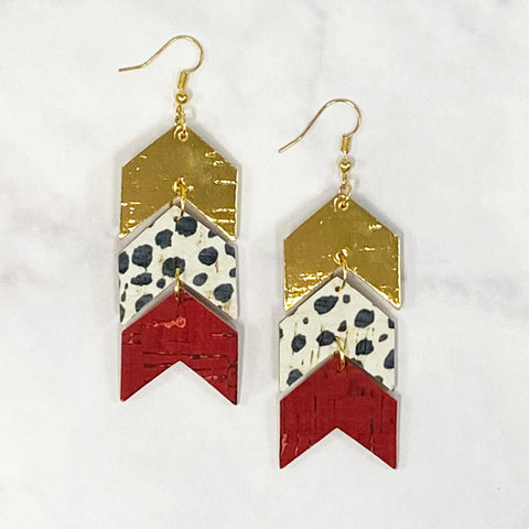 Triple Tier Leather Chevron Earrings - Gold/Red/Black/White