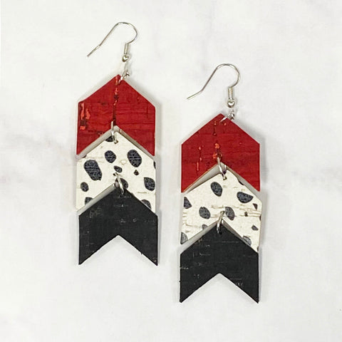 Triple Tier Leather Chevron Earrings - Crimson/Black/White
