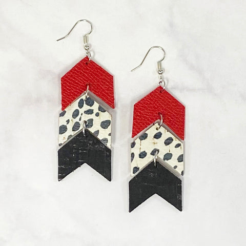 Triple Tier Leather Chevron Earrings - Red/Black/White