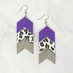 Triple Tier Leather Chevron Earrings - Purple/Silver/Black/White
