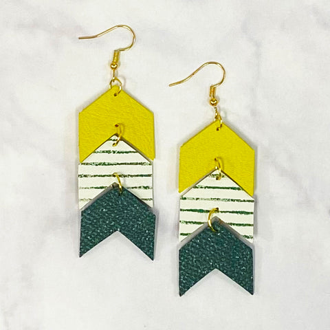 Triple Tier Leather Chevron Earrings - Green/Yellow/White