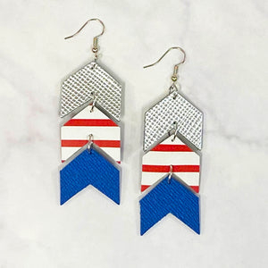 Triple Tier Leather Chevron Earrings - Silver/Red/Royal/White
