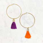 Mixed Tassel Hoops - Purple/Orange
