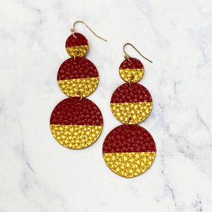 Circle Leather Drop Earrings - Garnet/Gold