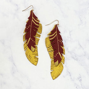 Feather Leather Drop Earrings - Garnet/Gold