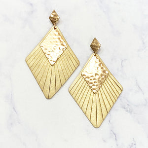 Leather and Gold Diamond Earrings - Gold