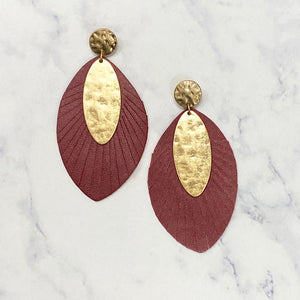 Leather and Gold Oval Earrings - Garnet