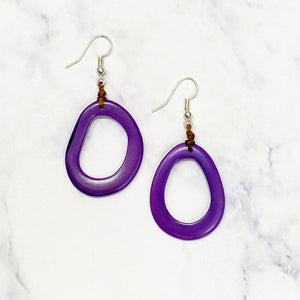 Pear Tagua Earrings - Purple