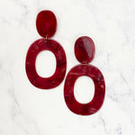 Garnet Tortoise Oval Drop Hoops