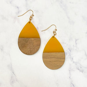 Wooden Teardrop Earrings - Gold
