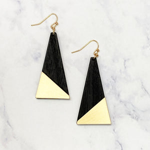 Wooden Triangle Earrings - Black
