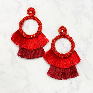 Beaded Fringe Drop Hoops - Red