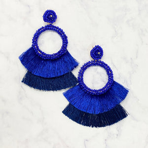 Beaded Fringe Drop Hoops - Royal