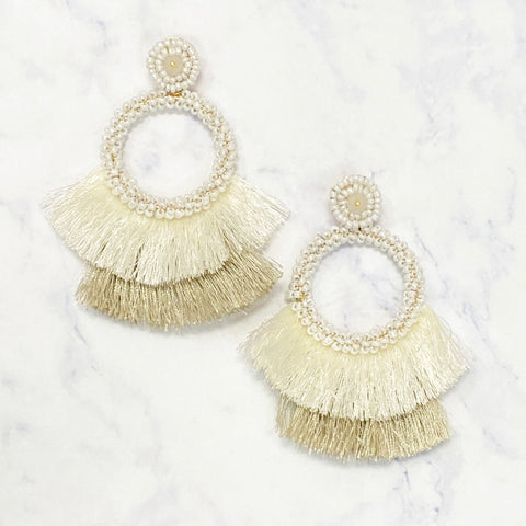 Beaded Fringe Drop Hoops - White