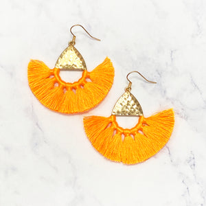 Semi Circle Fringe Earrings - Orange