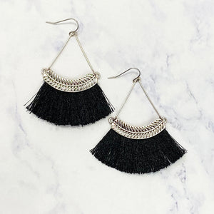 Feather Tassel Earrings - Black