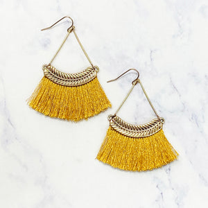 Feather Tassel Earrings - Gold