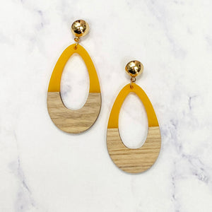 Wooden Tear Drop Hoops - Gold