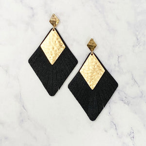 Leather and Gold Diamond Earrings - Black