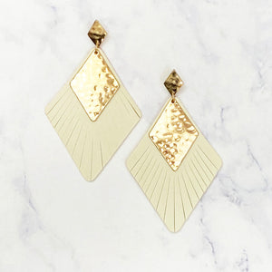 Leather and Gold Diamond Earrings - Ivory