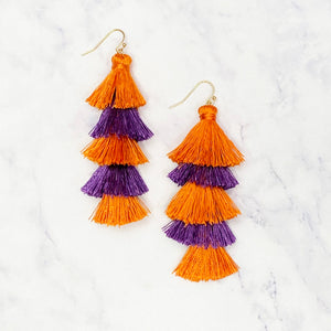 Five Layer Tassel Earrings - Purple/Orange
