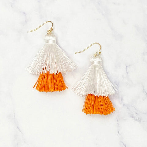 Double Tassel Earrings - Orange/White