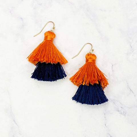 Double Tassel Earrings - Navy/Orange